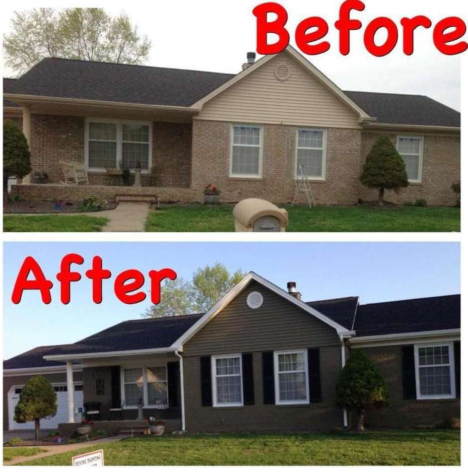 Exterior of house before & after painting by Devine Custom Painting in Evansville, IN